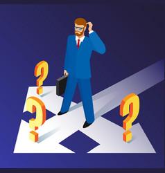 businessman standing on crossroads vector image