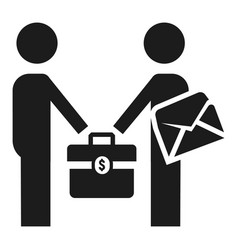 businessmen bribery icon simple style vector image