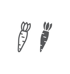 carrot line and glyph icon vegetable and diet vector image
