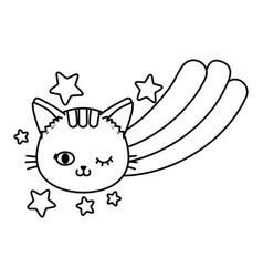 cat and rainbow black and white vector image