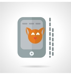 Cat photo in phone flat icon vector