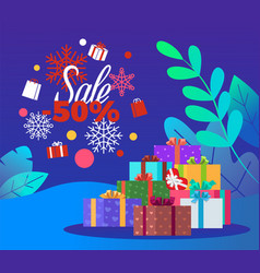 christmas card with present and discount vector image