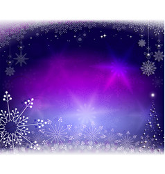 Christmas purple blue design with snowflakes vector