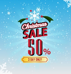 christmas sale 50 percent typographic background vector image