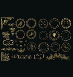 Collection handdrawn gold laurels and wreaths vector