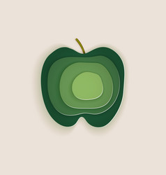 Conceptual green apple layered cut out colored vector