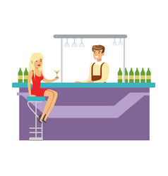 Cute girl in red dress drinking alone at bar vector