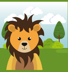 Cute lion in the field landscape character vector