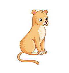 cute lioness sits on a white background vector image