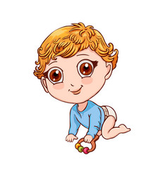 Cute little boy crawls and plays with a rattle vector