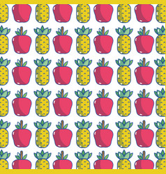 Delicious pineapple and apple fruit to healthy vector