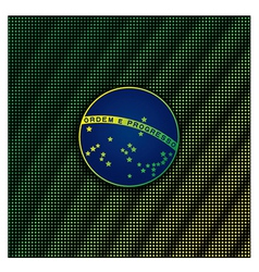 Digital background with blue disc of flag Brazil vector