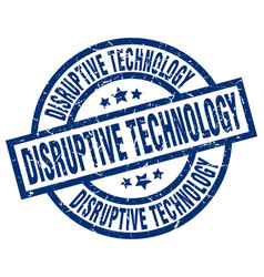 Disruptive technology blue round grunge stamp vector