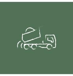 Dump truck icon drawn in chalk vector