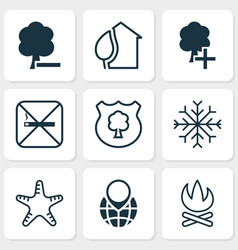 ecology icons set with campfire snowflake no vector image