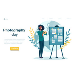 female character is celebrating world photography vector image