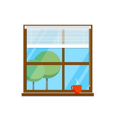 flat room window with cup vector image