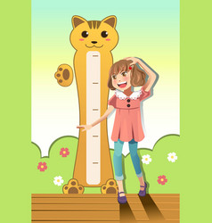 Girl measuring her height vector