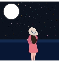 Girls looking starring at night sky alone vector