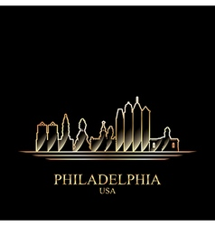 Gold silhouette of Philadelphia on black vector image