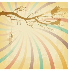 Grungy retro background with tree branch and birds vector image vector image