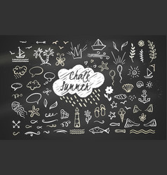 hand-drawn chalk clipart elements on sea ocean vector image