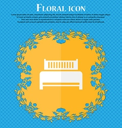Hotel bed icon sign Floral flat design on a blue vector image