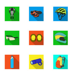 icons of cycling bike set for bike backpack vector image