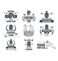 labels set for fencing sport monochrome pictures vector image