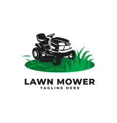 Lawn mower with engine tractor logo icon vector