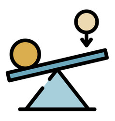 Leverage and balance of power icon color outline vector