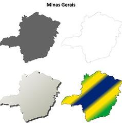 Minas Gerais blank outline map set vector image
