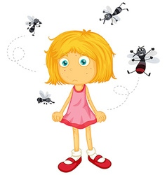 Mosquitos biting little girl vector