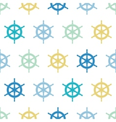 Nautical ship wheels colorful seamless pattern vector image
