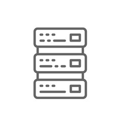network hosting server and technology line icon vector image