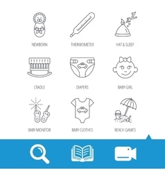 Newborn clothes diapers and sleep hat icons vector