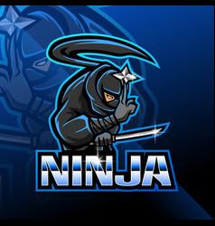 Ninja esport mascot logo design vector