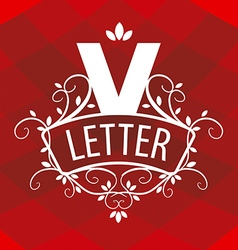 ornate letter V logo on a red background vector image