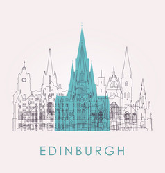 Outline edinburgh skyline with landmarks vector