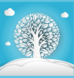 paper art apple tree in circle design vector image