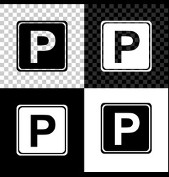 parking sign icon isolated on black white and vector image