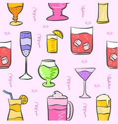 Pattern drink various pink background vector