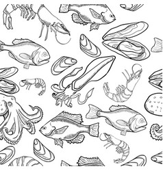Pattern with set of sea food products vector