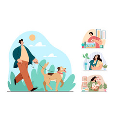 people man woman characters happy with their pets vector image
