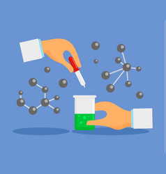 pipette and flask concept background flat style vector image