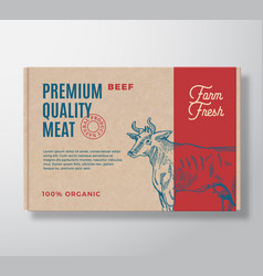 premium quality beef meat packaging label vector image