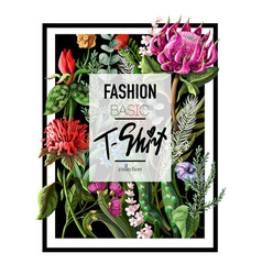 print for t-shirt with tropical flowers vector image