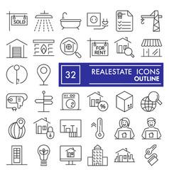 Realestate thin line icon set house symbols vector