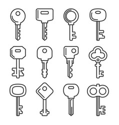retro and modern key icons set vector image