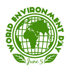round stamp for world environment day june 5 vector image
